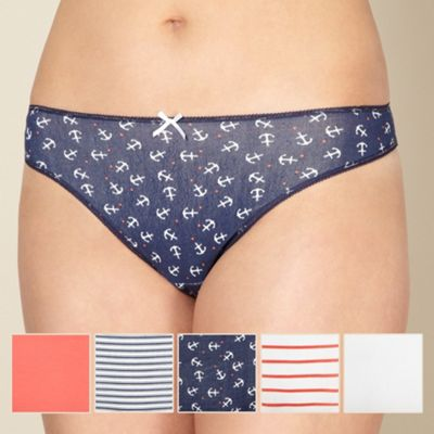 Pack of five blue anchor print thongs