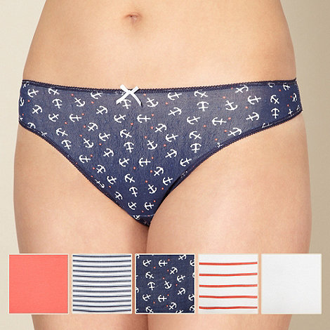 Debenhams - Pack of five cotton blue anchor print thongs