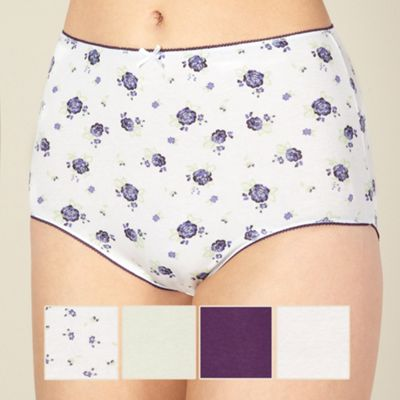 Pack of five purple floral print full briefs