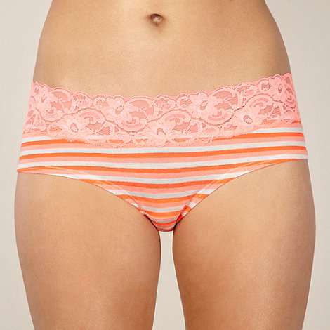 Debenhams - Orange stripe cotton lace shorts