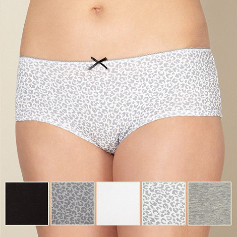 Debenhams - Pack of five cotton grey animal shorts