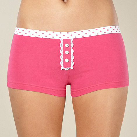 Debenhams - Pink spotted waistband shorts
