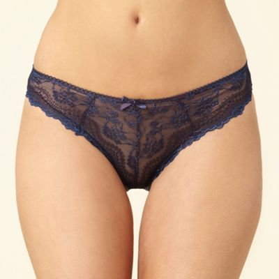 Dark blue lace front high leg briefs