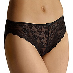 Debenhams - Black lace front high leg briefs