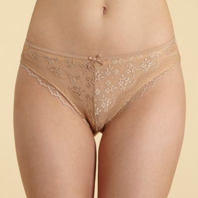 Tan lace front high leg briefs