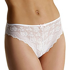 Debenhams - White lace front high leg briefs
