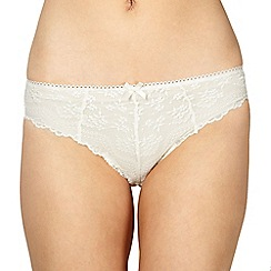 Debenhams - Ivory lace front high leg briefs