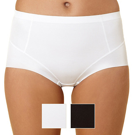 Debenhams - Pack of two white and black shaping briefs