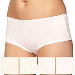 Debenhams - Pack of five cotton nude animal print  shorts