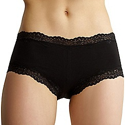 Debenhams - Black cotton lace trim shorts