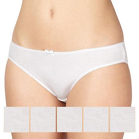 Debenhams - 5 pack white cotton bikini knickers