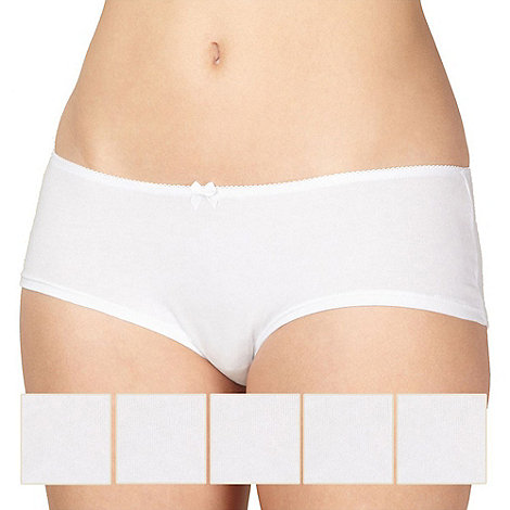 Debenhams - Pack of five cotton white shorts