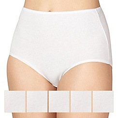 Debenhams - Pack of five cotton white full briefs