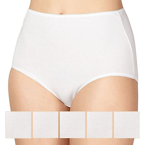 Debenhams - Pack of five cotton white full briefs