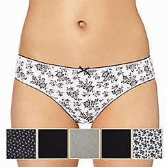 Debenhams - Pack of five cotton grey tonal floral printed bikini briefs