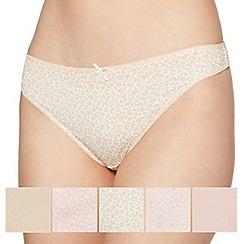 Debenhams - Pack of five cotton natural animal thongs