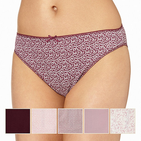 Debenhams - Pack of five cotton purple leaf printed full briefs