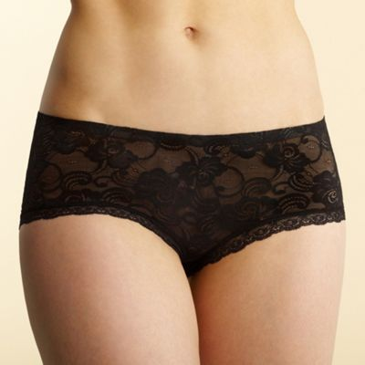 Black invisible lace shorts