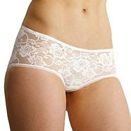 White invisible lace shorts