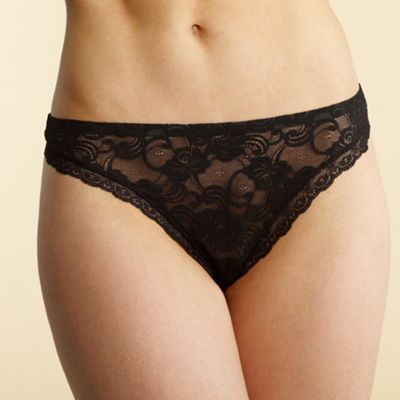 Black invisible lace thong