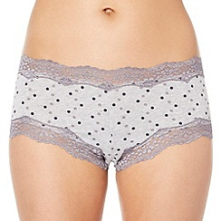 Debenhams - Grey cotton 'invisible' lace spotted shorts