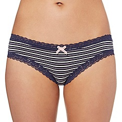 Debenhams - Navy striped modal Brazilian briefs