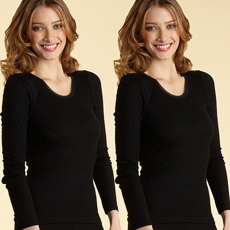 Debenhams - Pack of two black long sleeved thermal vests