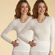 Pack of two cream long sleeved thermal vests
