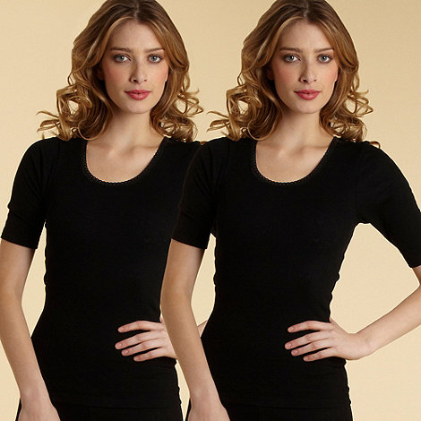 Debenhams - Pack of two black short sleeved thermal vests