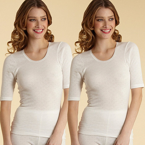 Debenhams - Pack of two cream short sleeved thermal vests