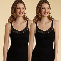 Debenhams - Pack of two black thermal vests