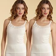Pack of two cream thermal vests