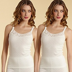 Debenhams - Pack of two cream thermal vests