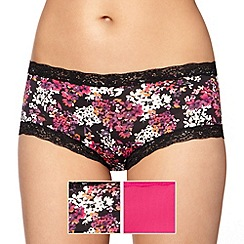 Debenhams - Pack of two black floral lace shorts