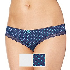 Debenhams - Two pack of blue spotted brazilian briefs