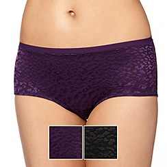 Debenhams - Pack of two purple animal print burnout shorts