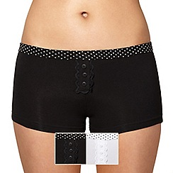 Debenhams - Pack of two lace placket cotton shorts with spot waistband