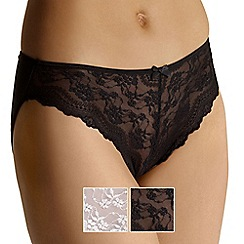 Debenhams - Pack of two lace front high leg briefs