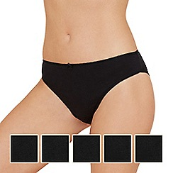 Debenhams - Pack of five cotton black plain high leg briefs
