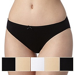 Debenhams - Pack of five cotton black, natural and white high leg briefs