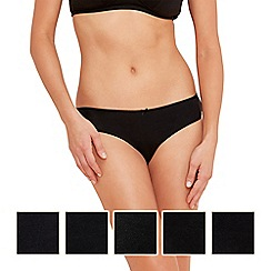 Debenhams - Pack of five cotton black bikini briefs