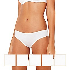 Debenhams - Pack of five cotton white bikini briefs