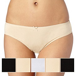 Debenhams - Pack of five cotton natural bikini briefs