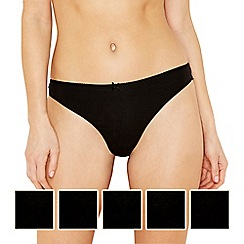 Debenhams - Pack of five cotton black thongs