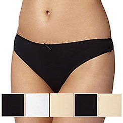Debenhams - Pack of five black, white and natural plain thongs