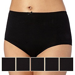 Debenhams - Pack of five cotton black briefs