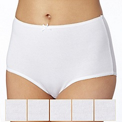 Debenhams - Pack of five cotton white briefs