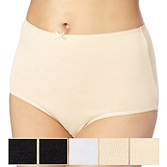 Debenhams - Pack of five cotton natural briefs