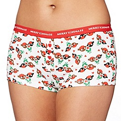 Debenhams - Red Christmas robin printed cotton boxer shorts