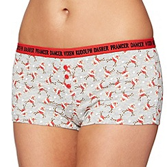 Debenhams - Grey Christmas reindeer printed cotton boxer shorts